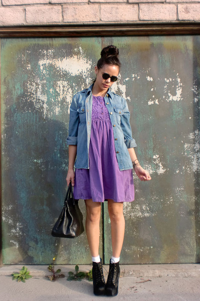 black jeffrey campbell lita boots - purple purple babydoll vintage dress