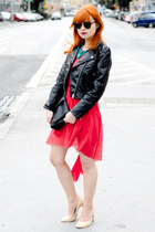 black faux leather H&M jacket - red lace asos dress - black H&M bag