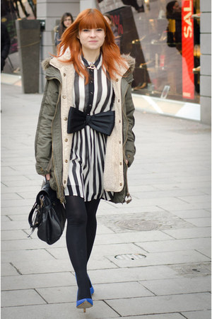 white striped Primark dress - army green parka asos jacket - black bow H&amp;M belt