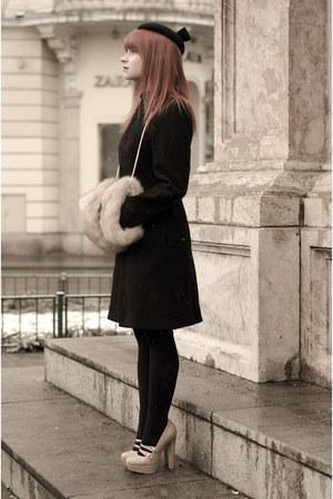 black thrifted Zara hat - black military H&M coat