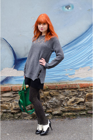 green nowIStyle bag - charcoal gray knitted nowIStyle sweater