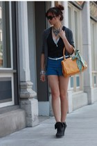 mustard bag - blue shorts - gray cardigan - black vest