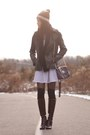 dark brown Nine West boots - white Vero Moda dress - black leather jacket