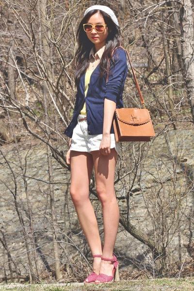 yellow top - brown asos bag - white shorts - red heels