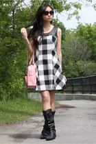 black boots - white checkered dress - bubble gum bag