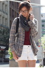 Dark-khaki-tartan-top-gray-scarf-white-shorts-brick-red-t-shirt
