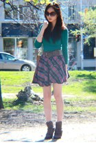 plaid skirt - Forever 21 boots - top