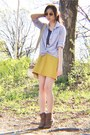 Light-brown-boots-light-blue-blouse-mustard-skirt