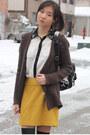 Black-socks-dark-brown-cardigan-mustard-skirt-white-blouse