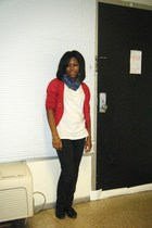 blue scarf - black jeans - black - red cardigan - white top - gold accessories