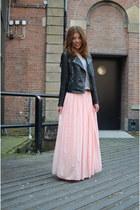 bubble gum maxi skirt Local store skirt - black fringes Kopenhagen jacket