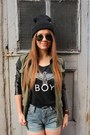 Black-cotton-american-apparel-hat-army-green-miltary-zara-jacket