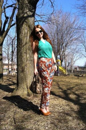 teal chiffon shirt - tawny Aldo shoes - dark brown floral print Audrey pants