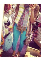 skinny jeans pants - boat shoes shoes - scarf - stripes blouse