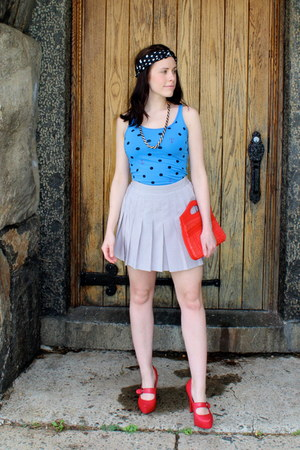 heather gray vintage skirt skirt - red Sprinkles Vintage Bag bag