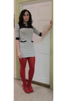 off white Forever 21 dress - red Delias stockings - red DSW heels