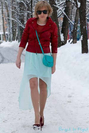 sky blue Zara skirt - maroon Prada shoes - ruby red Miss Sixty jacket