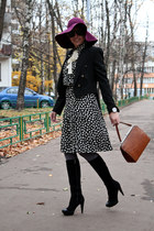 burnt orange vintage bag - ivory Moschino dress - black Zara coat