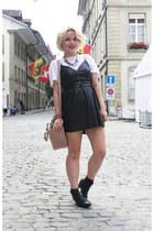 t-shirt white Alexander Wang shirt - black pleather Zara dress