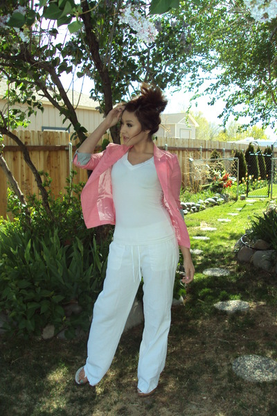 pink Choice blazer - linen Styles For Less pants - Charlotte Russe wedges