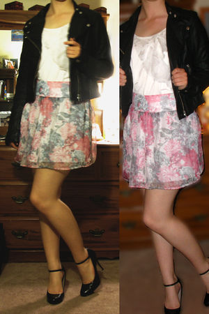 black Nine West shoes - pink Charlotte Russe skirt - white Forever 21 shirt - bl