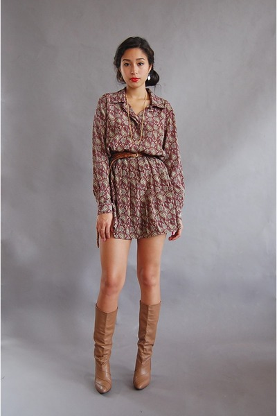 red vintage dress - beige vintage boots - gold Forever 21 necklace - brown vinta