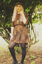 brown Zara hat - black Misbehave shoes - burnt orange Bershka dress