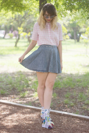 blue denim Shasa skirt - white jeffrey campbell x black milk clothing boots