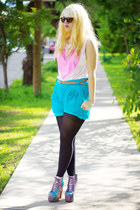 turquoise blue high waisted Zara shorts