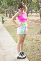 hot pink crop top Forever 21 top - silver UNIF shoes
