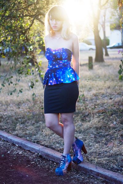 blue peplum no brand top - amethyst cosmic lita Jeffrey Campbell boots