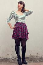 black Refresh boots - white stripes Zara dress - black stripes random brand tigh