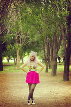 white t-strap bow Liliana heels - yellow tank top Zara top - hot pink Zara skirt