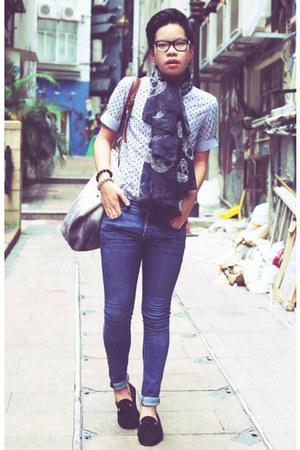 navy H&M jeans - black skulls Zara scarf - black Zara loafers