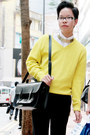 Yellow-zara-sweater-black-underground-shoes