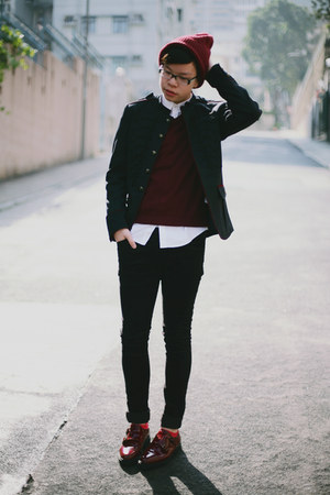 black H&amp;M jeans - brick red asos hat - dark gray Zara jacket
