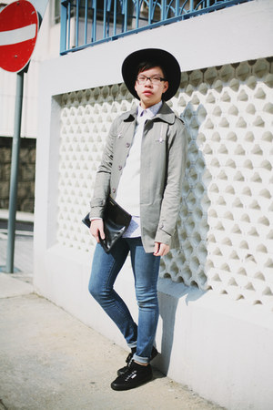 black nastygal hat - silver korean market jacket - black Superga sneakers