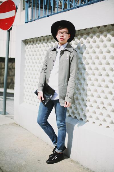 black nastygal hat - silver korean market jacket - black Superga sneakers