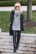black ankle Topshop boots - gray cowl neck H&M sweater