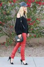 Red-skinny-leather-urban-outfitters-pants-black-acrobat-sweater