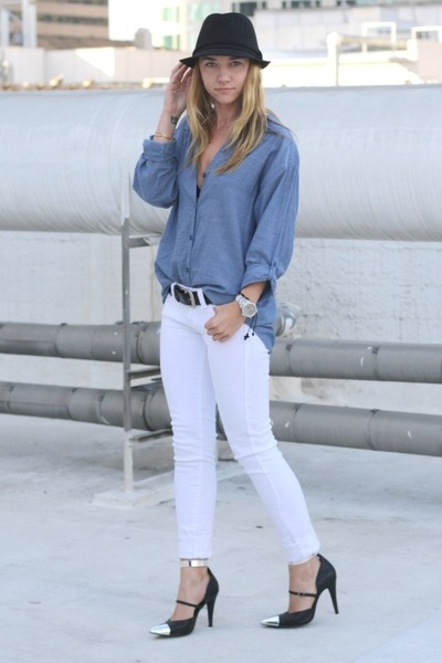 black sharp Nowhere heels - periwinkle denim H&M blouse