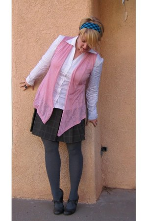 grey Target tights - blue-pink plaid Orsay skirt - pink Maurices cardigan - whit