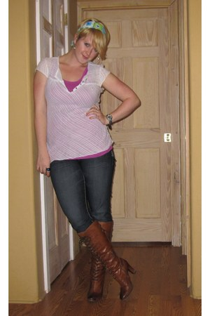 white thrifted blouse - brown sam edelman boots - jeggings Maurices jeans