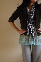 jacket - top - scarf - cotton on jeans