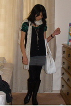 dress - vest - Forever New scarf - Cinnamon shoes - nike purse - Indcy necklace