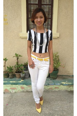 black printed cropped Forever 21 top - yellow belt - white bench pants