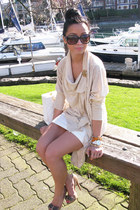 eggshell wilfred cardigan - white unbranded dress - caviar leather Chanel bag