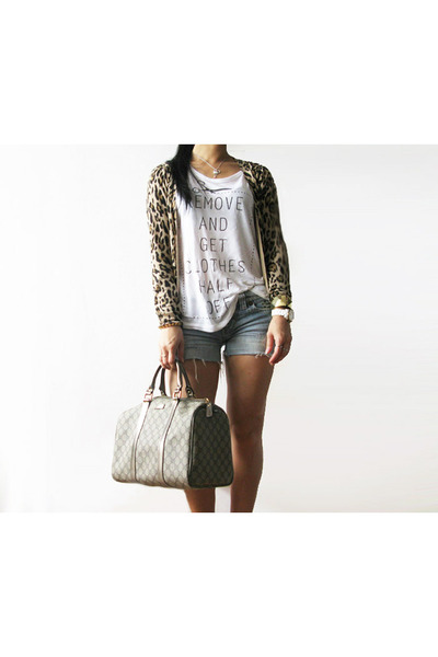 light brown Gucci bag - blue studded DIY shorts - camel leopard Zara cardigan