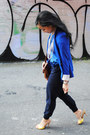 Yellow-shoes-blue-zara-blazer-dark-brown-spring-bag-navy-talula-pants