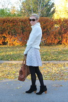 white H&M skirt - black Mia boots - ivory Gap sweater